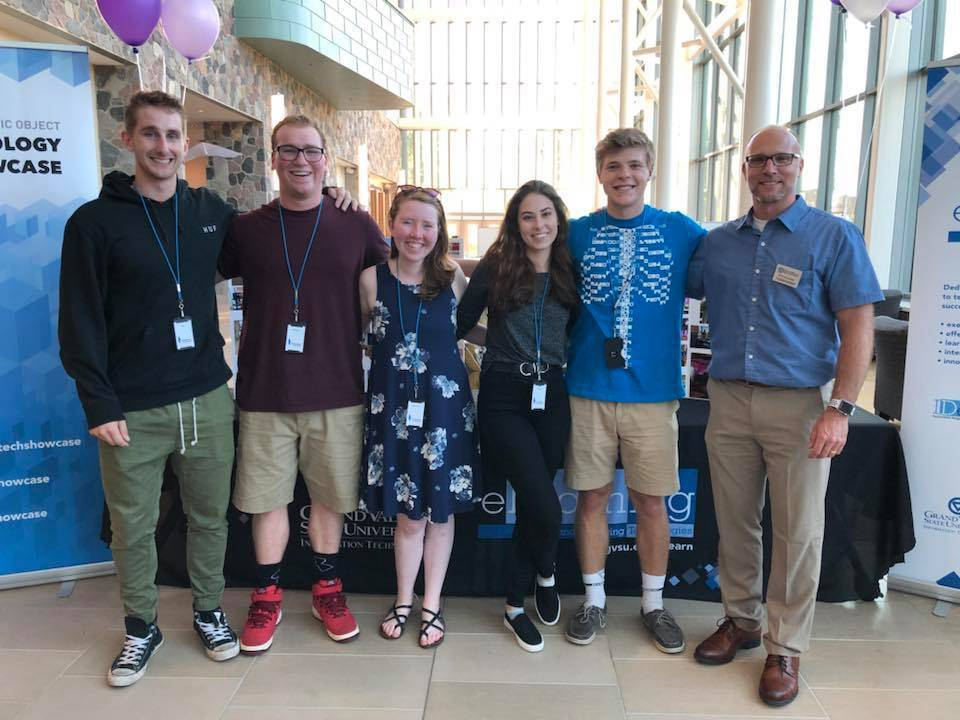 Technology Showcase Staff Pictured in the Atrium of the Mary Idema Pew Library at GVSU